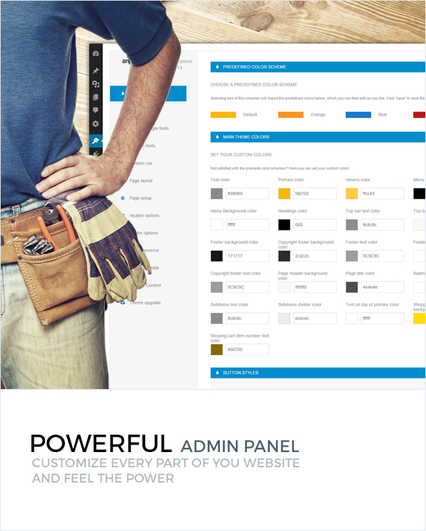 Powerful admin panel - customize every part of your website